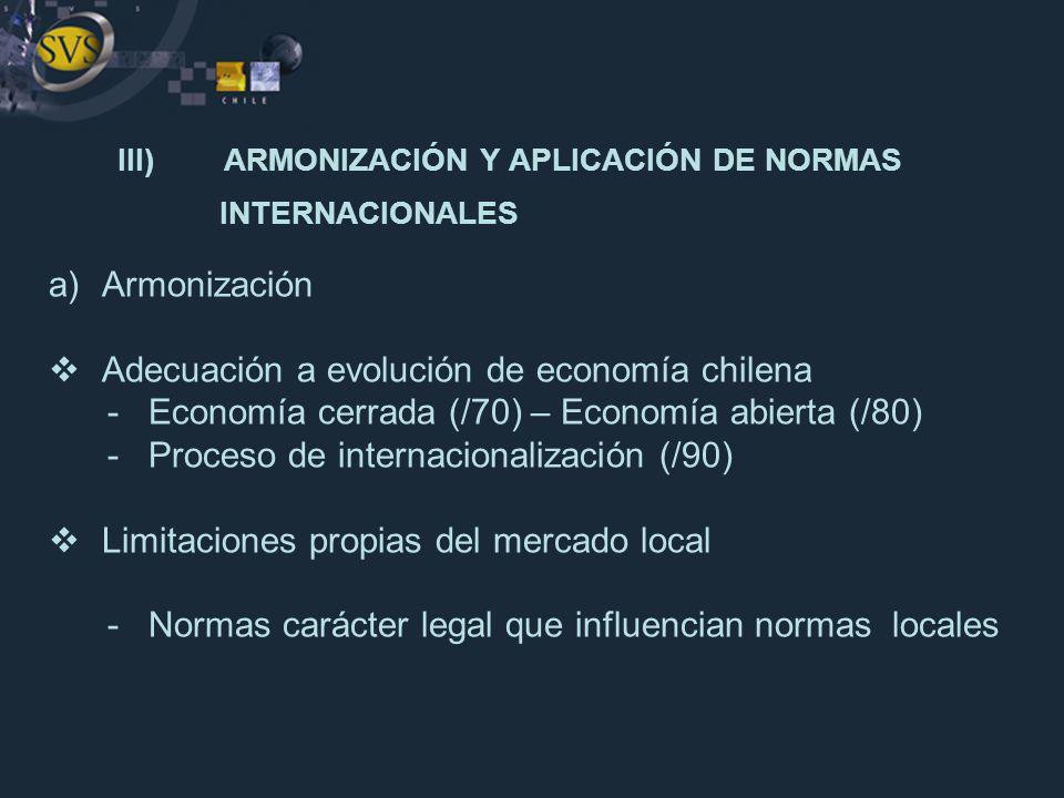 III) ARMONIZACIÓN Y APLICACIÓN DE NORMAS INTERNACIONALES