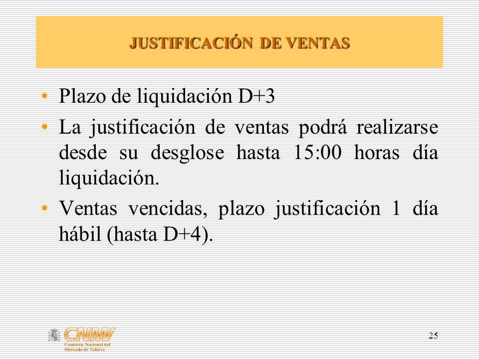 JUSTIFICACIÓN DE VENTAS
