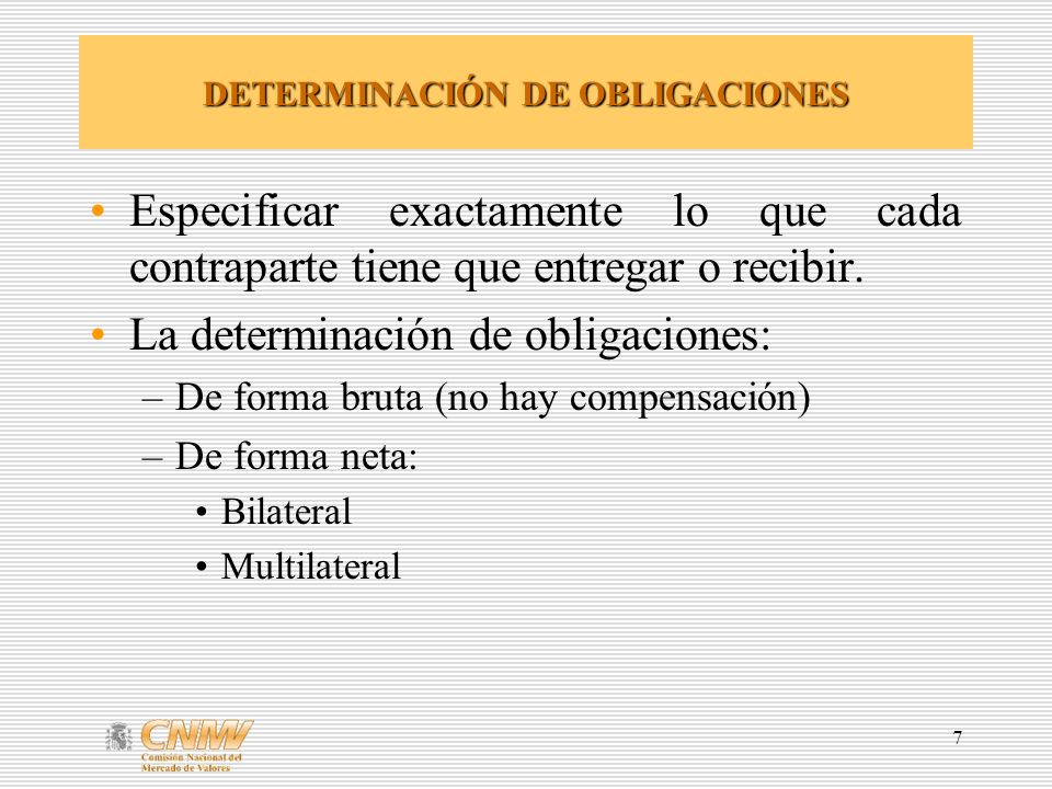 DETERMINACIÓN DE OBLIGACIONES