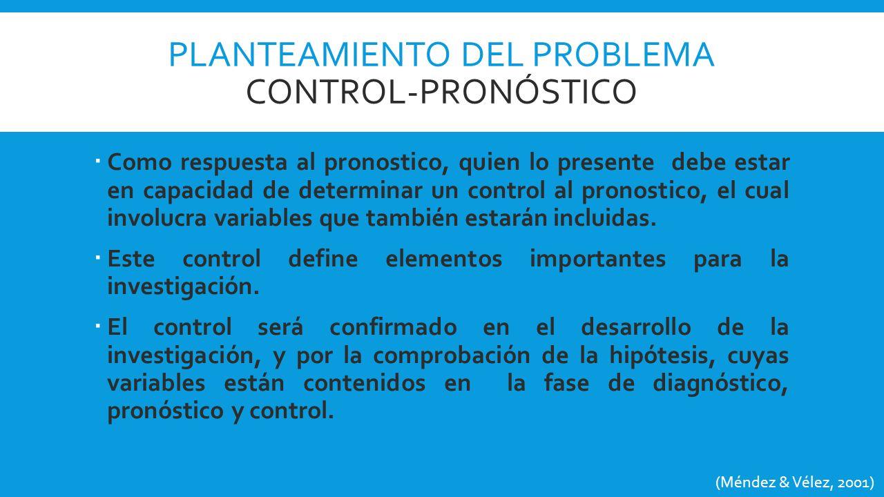 Planteamiento del problema CONTROL-PROnóstico