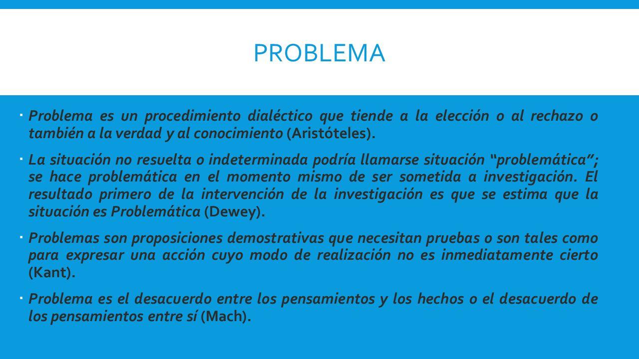 PROBLEMA Problema es un procedimiento dialéctico que tiende a la elección o al rechazo o también a la verdad y al conocimiento (Aristóteles).