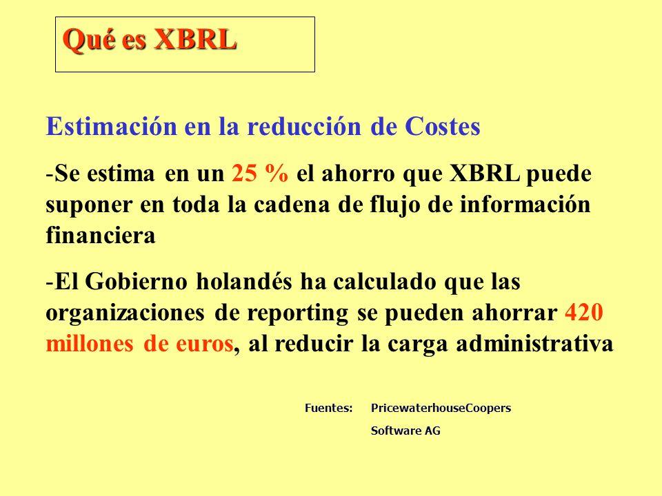 Qué es XBRL Estimación en la reducción de Costes