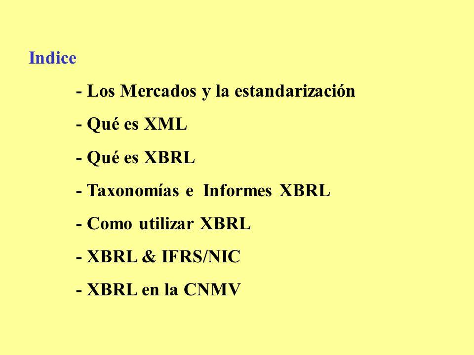 Indice - Los Mercados y la estandarización. - Qué es XML. - Qué es XBRL. - Taxonomías e Informes XBRL.