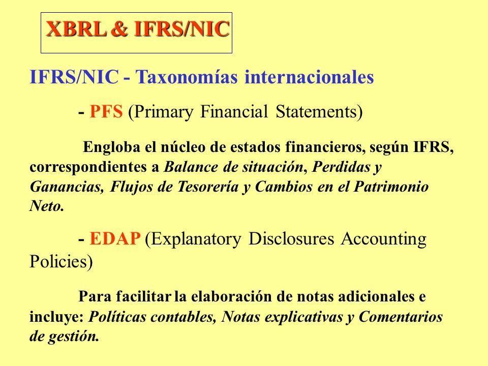 XBRL & IFRS/NIC IFRS/NIC - Taxonomías internacionales