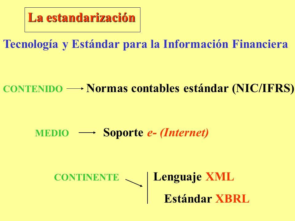 La estandarización Tecnología y Estándar para la Información Financiera. CONTENIDO Normas contables estándar (NIC/IFRS)