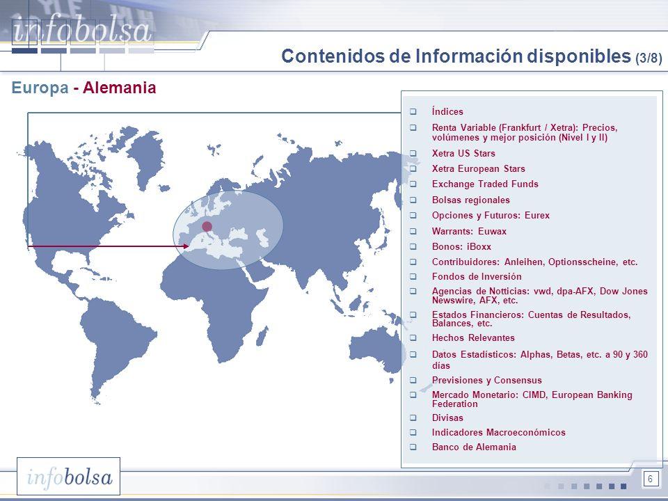 Contenidos de Información disponibles (3/8)