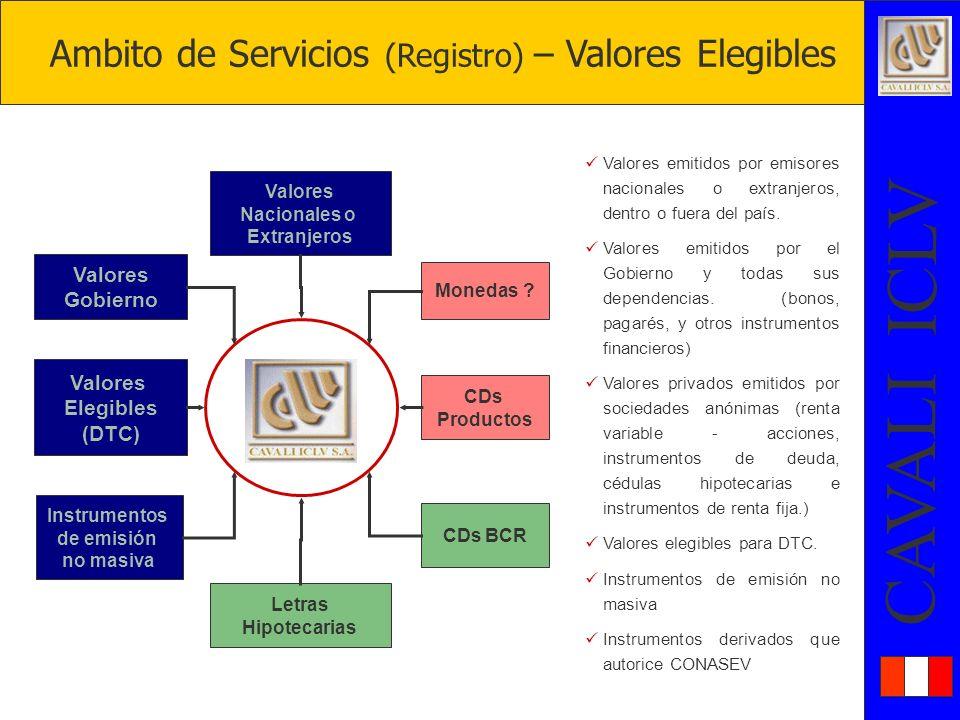 Ambito de Servicios (Registro) – Valores Elegibles