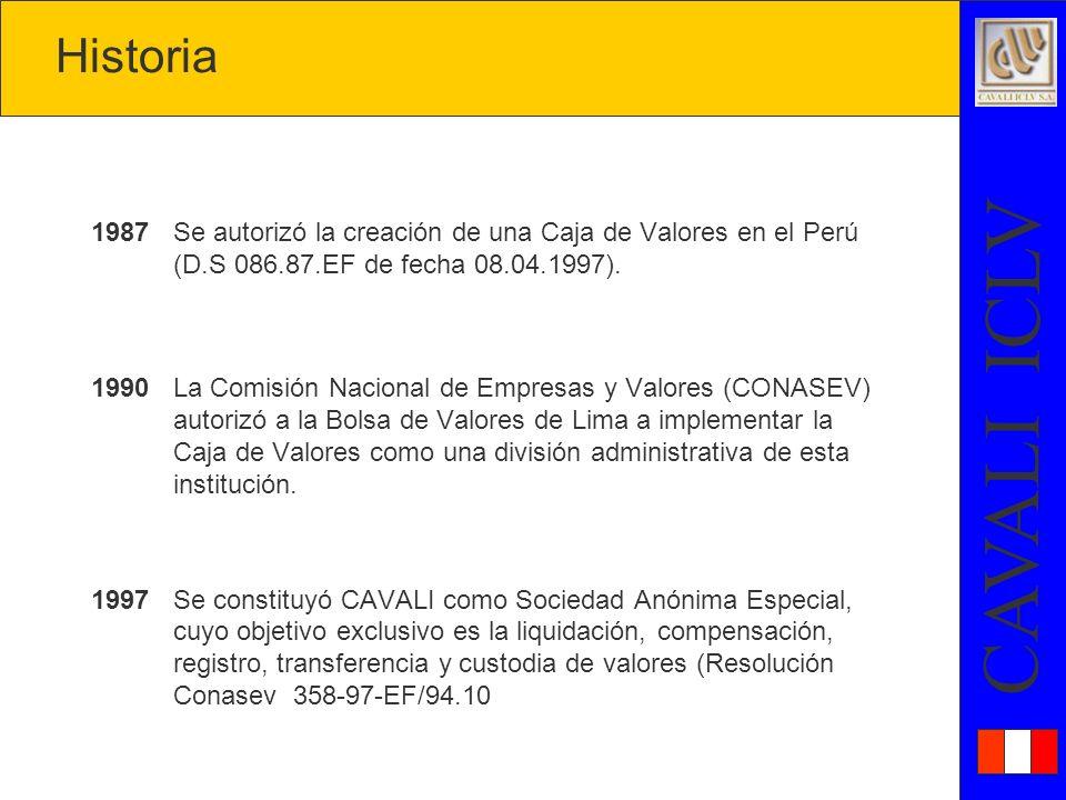 Historia 1987 Se autorizó la creación de una Caja de Valores en el Perú (D.S 086.87.EF de fecha 08.04.1997).