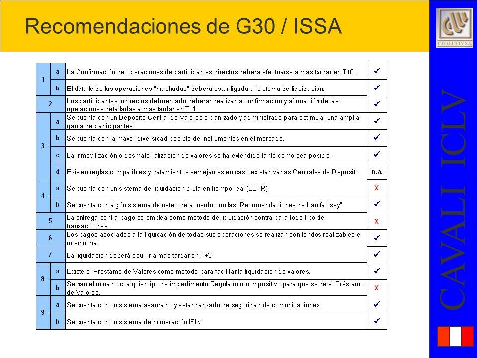 Recomendaciones de G30 / ISSA