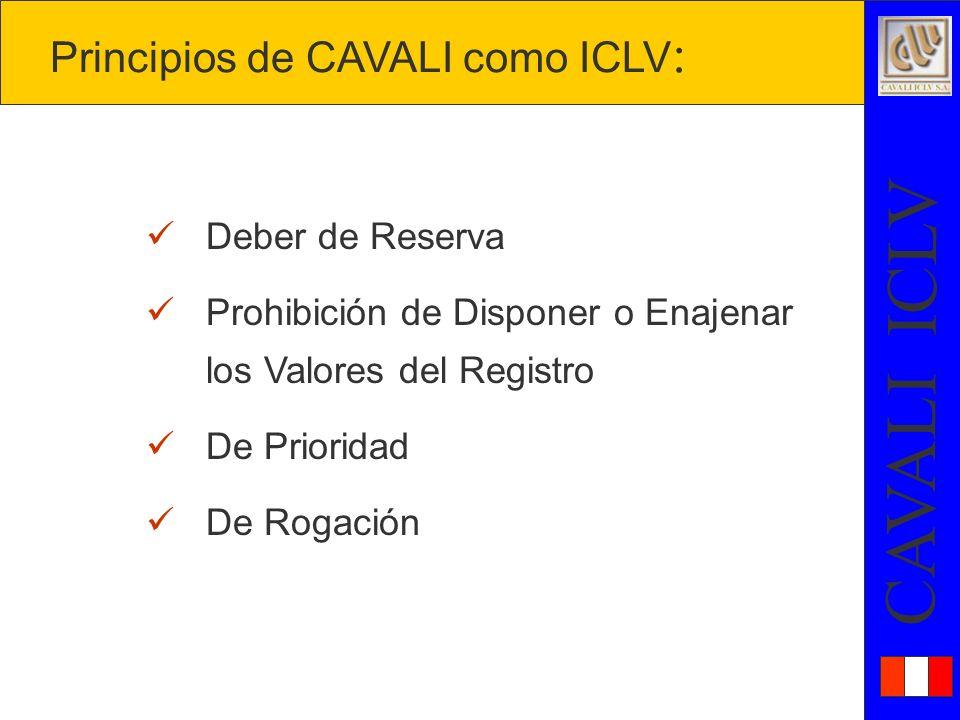 Principios de CAVALI como ICLV: