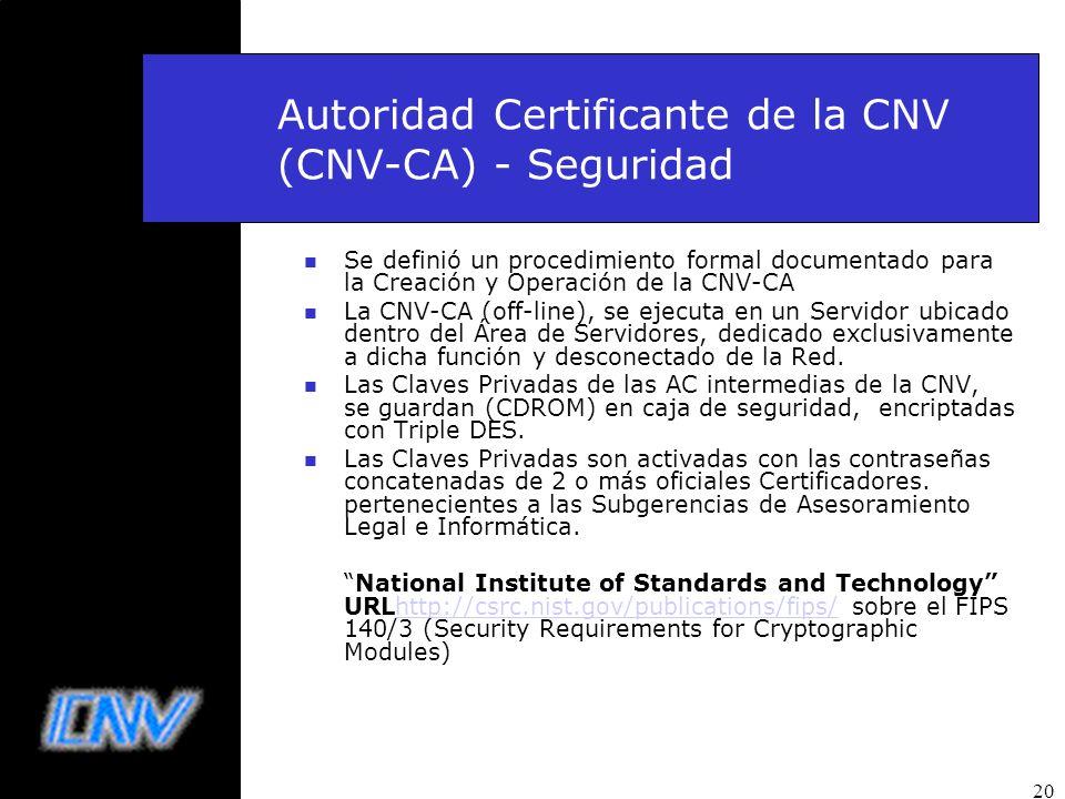Autoridad Certificante de la CNV (CNV-CA) - Seguridad