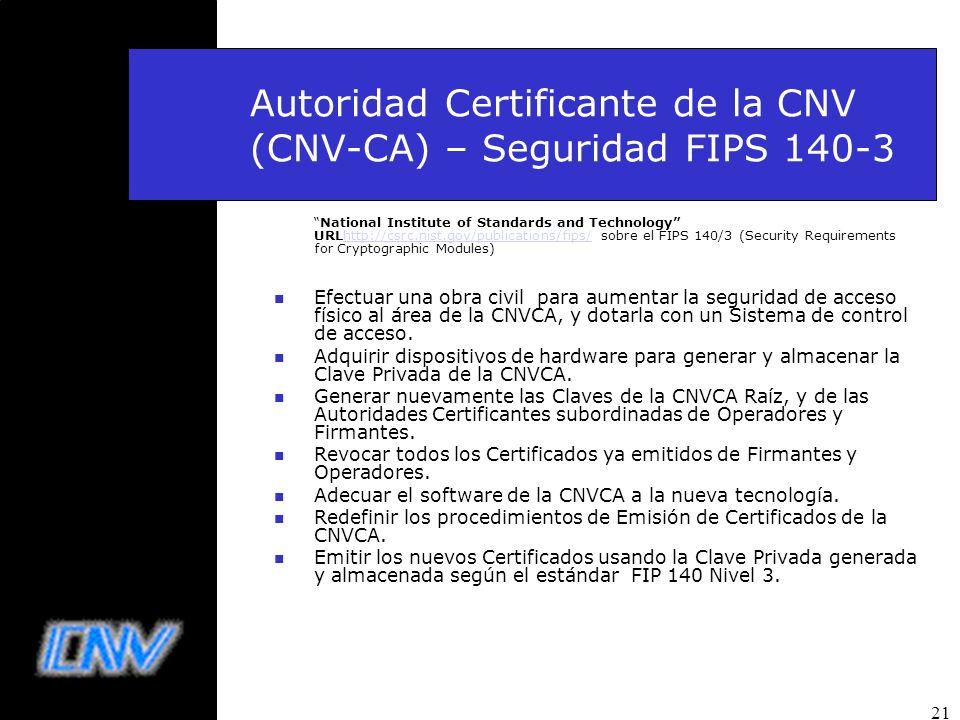 Autoridad Certificante de la CNV (CNV-CA) – Seguridad FIPS 140-3