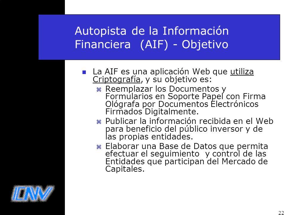 Autopista de la Información Financiera (AIF) - Objetivo