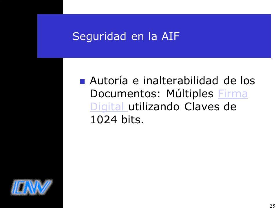 Seguridad en la AIF Autoría e inalterabilidad de los Documentos: Múltiples Firma Digital utilizando Claves de 1024 bits.