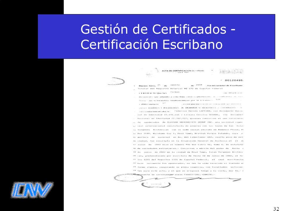 Gestión de Certificados - Certificación Escribano