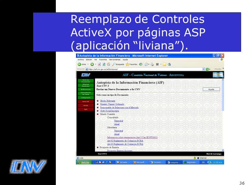 Reemplazo de Controles ActiveX por páginas ASP (aplicación liviana ).