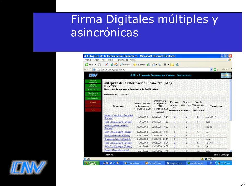 Firma Digitales múltiples y asincrónicas
