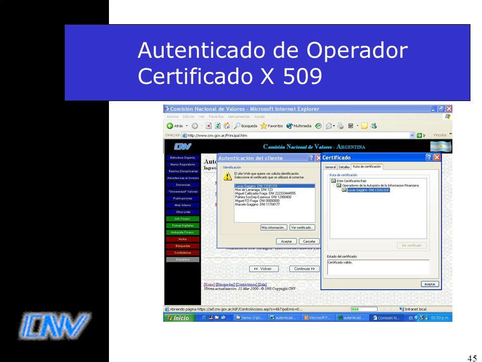 Autenticado de Operador Certificado X 509
