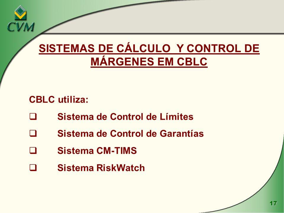 SISTEMAS DE CÁLCULO Y CONTROL DE MÁRGENES EM CBLC