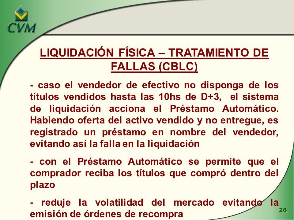 LIQUIDACIÓN FÍSICA – TRATAMIENTO DE FALLAS (CBLC)