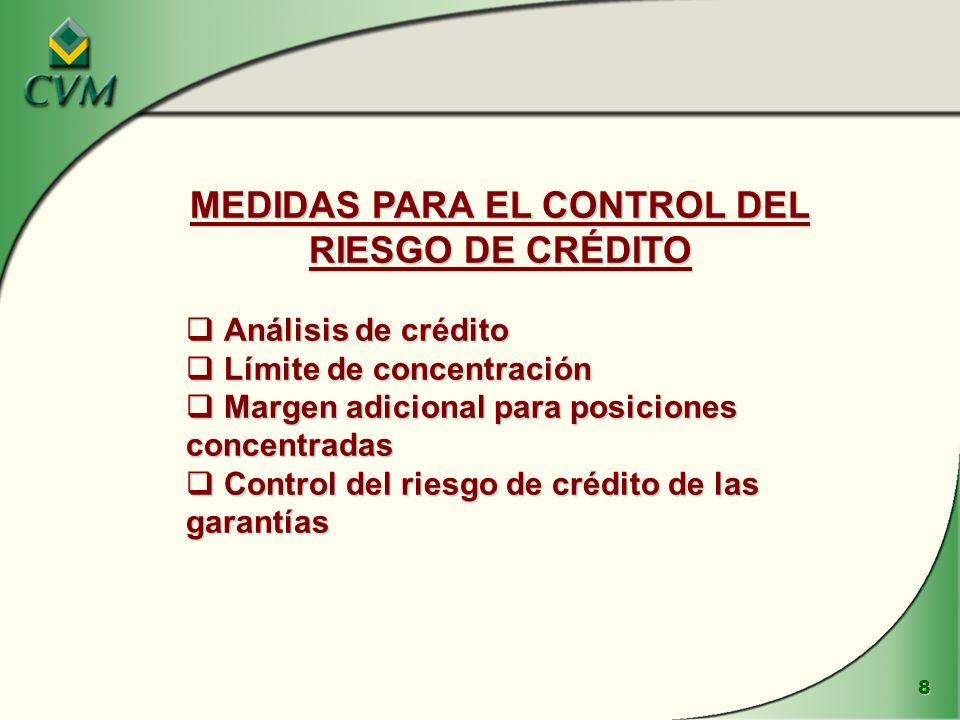 MEDIDAS PARA EL CONTROL DEL RIESGO DE CRÉDITO