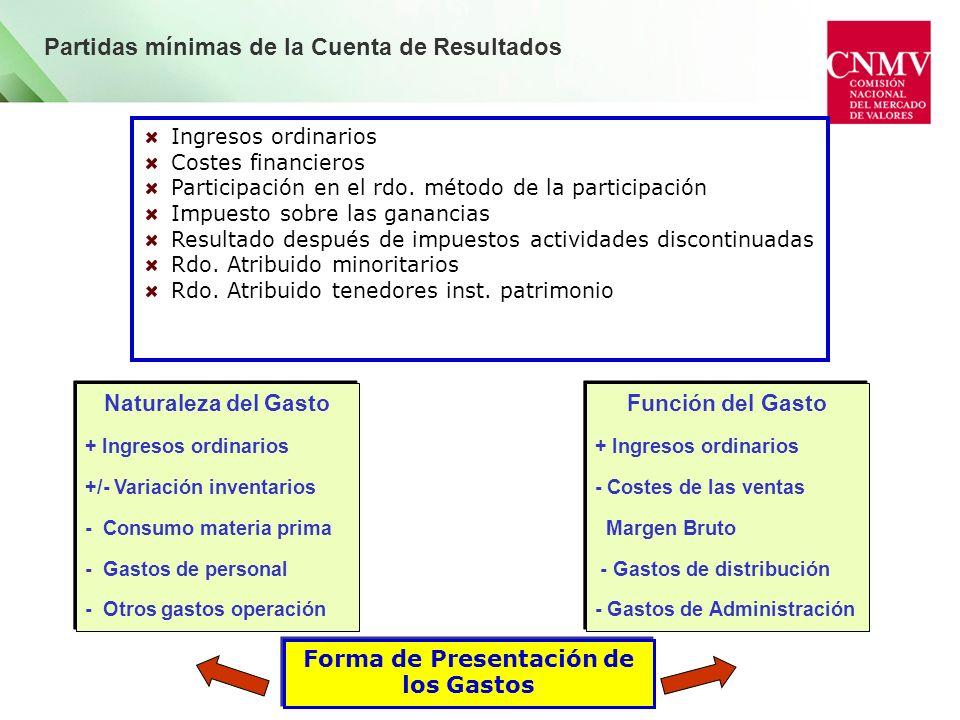 Forma de Presentación de los Gastos