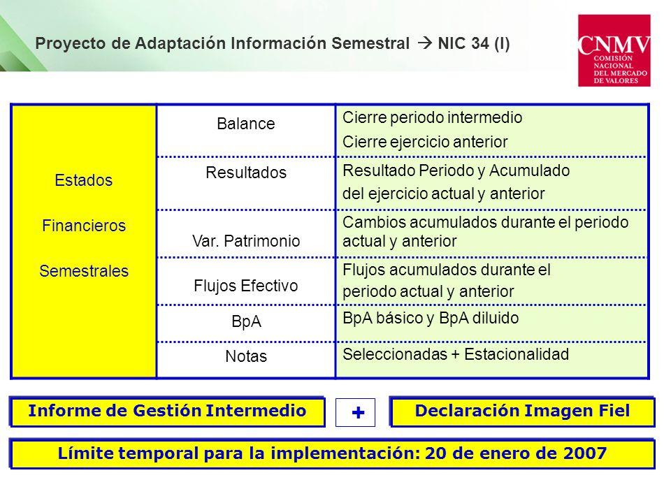 Límite temporal para la implementación: 20 de enero de 2007