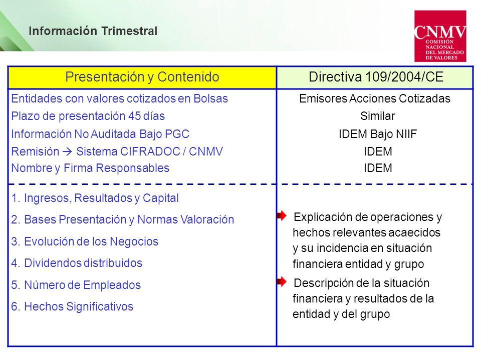 Presentación y Contenido Directiva 109/2004/CE