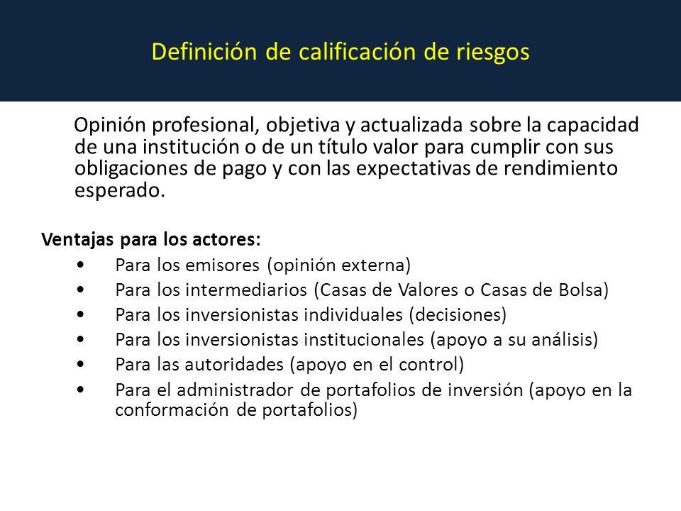 Definición de calificación de riesgos
