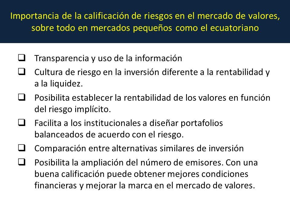Importancia de la calificación de riesgos en el mercado de valores, sobre todo en mercados pequeños como el ecuatoriano