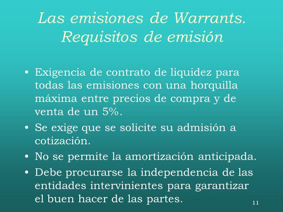 Las emisiones de Warrants. Requisitos de emisión