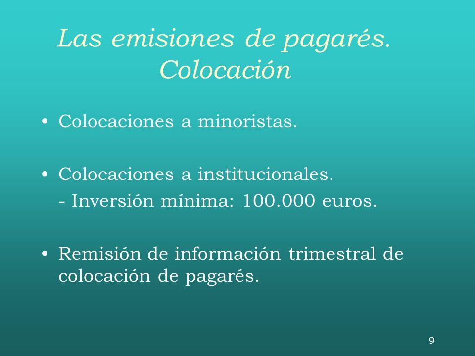 Las emisiones de pagarés. Colocación