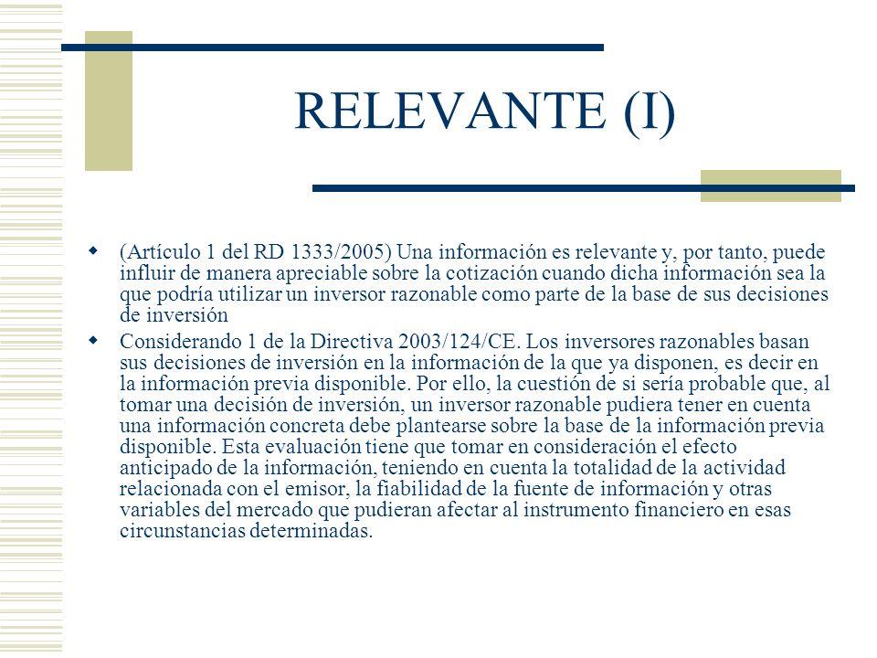 RELEVANTE (I)