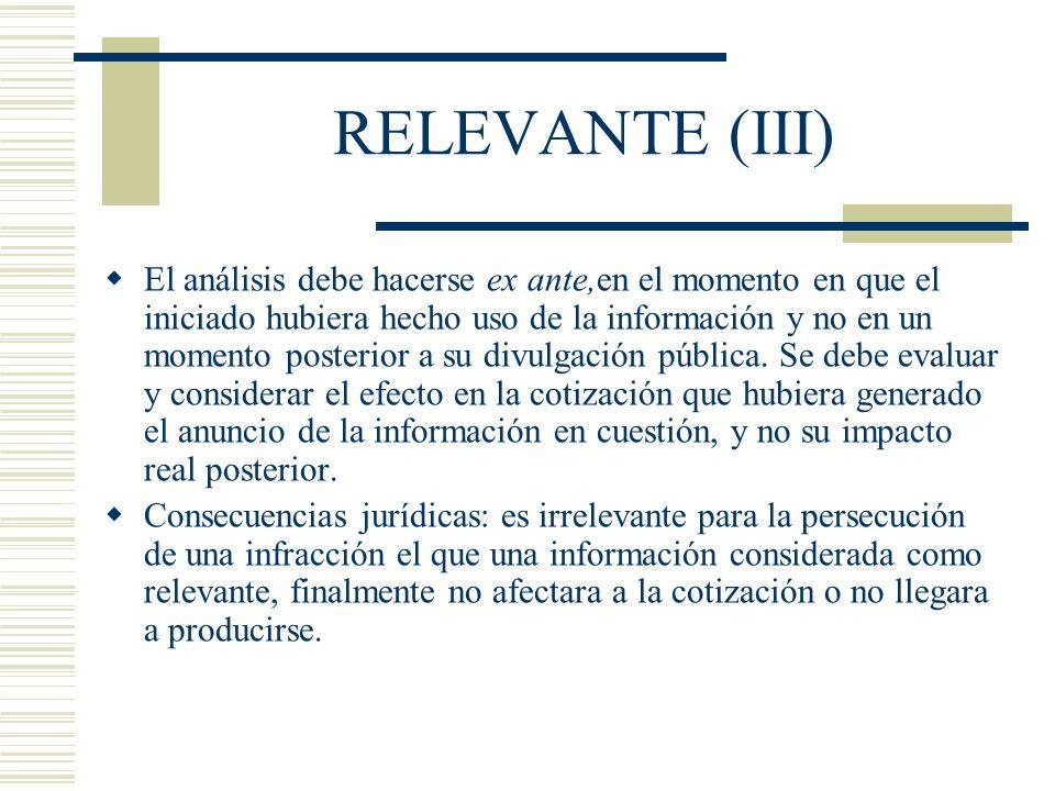 RELEVANTE (III)