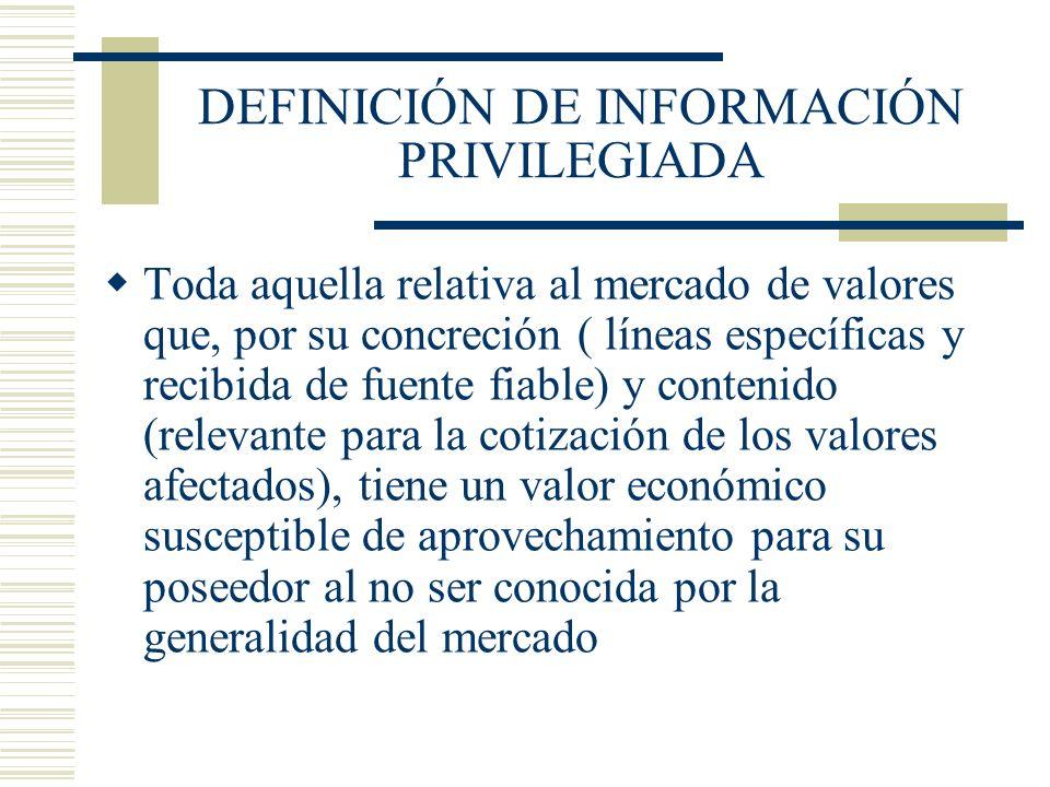 DEFINICIÓN DE INFORMACIÓN PRIVILEGIADA
