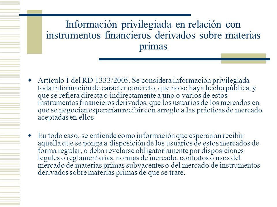 Información privilegiada en relación con instrumentos financieros derivados sobre materias primas