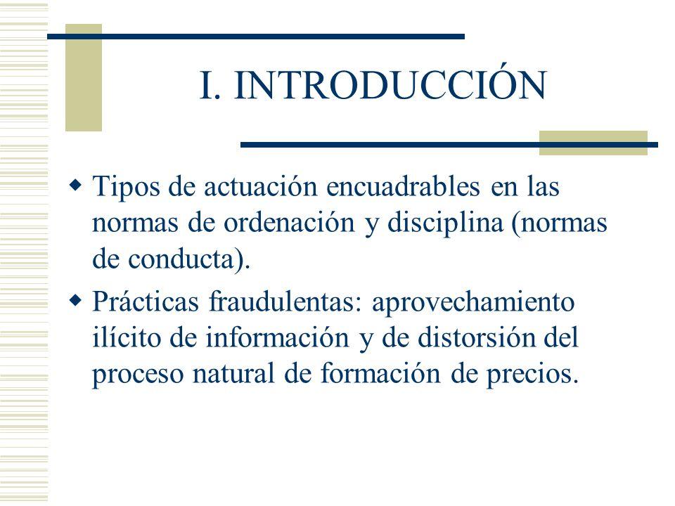 I. INTRODUCCIÓN Tipos de actuación encuadrables en las normas de ordenación y disciplina (normas de conducta).