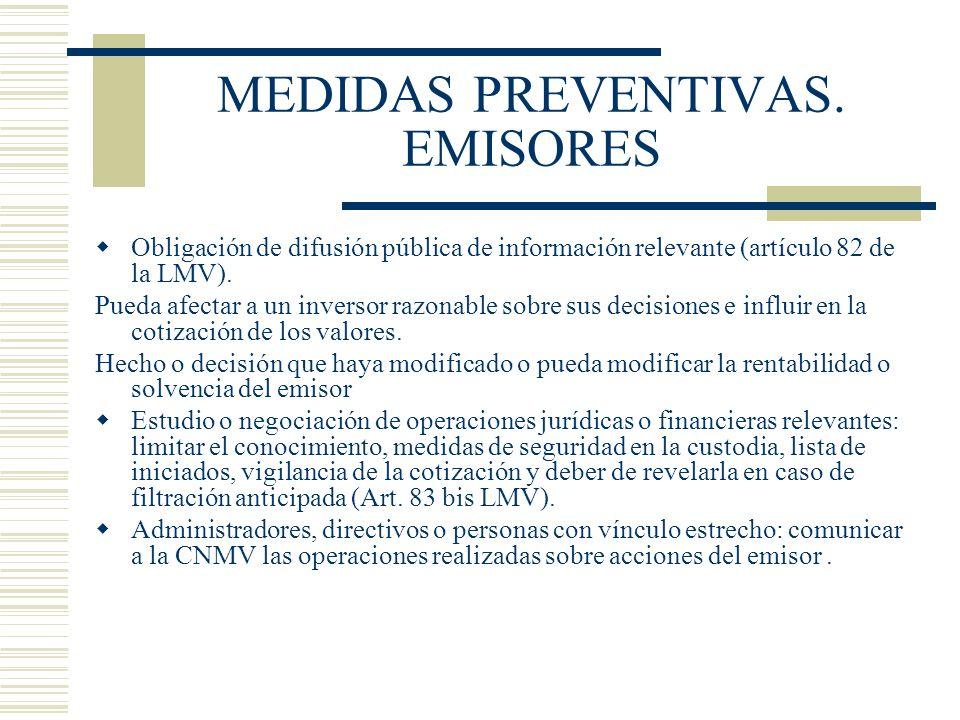 MEDIDAS PREVENTIVAS. EMISORES
