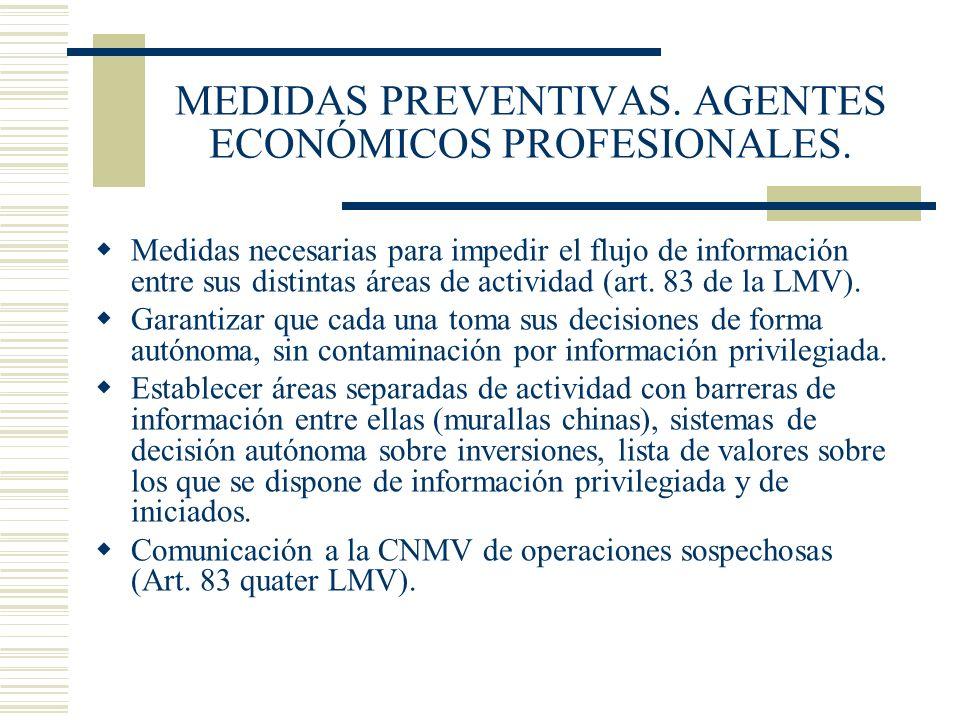 MEDIDAS PREVENTIVAS. AGENTES ECONÓMICOS PROFESIONALES.