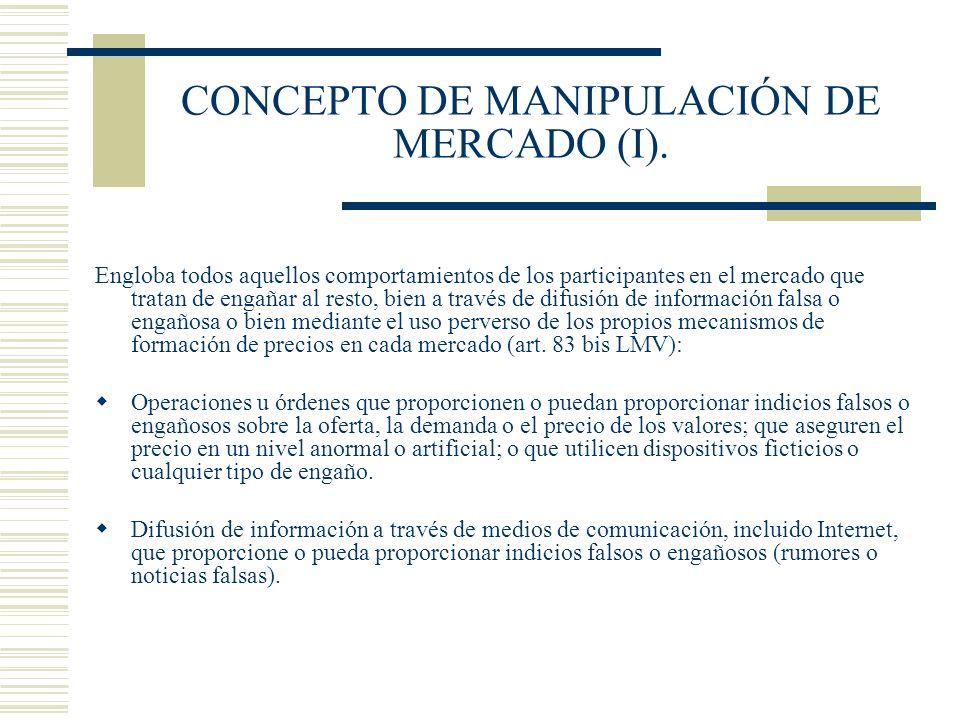 CONCEPTO DE MANIPULACIÓN DE MERCADO (I).