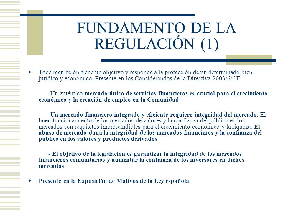 FUNDAMENTO DE LA REGULACIÓN (1)