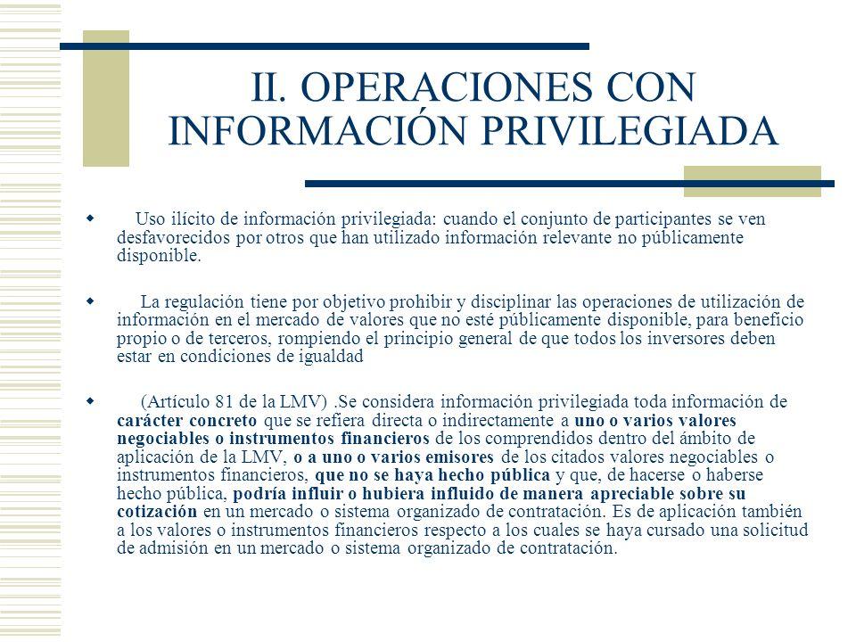 II. OPERACIONES CON INFORMACIÓN PRIVILEGIADA