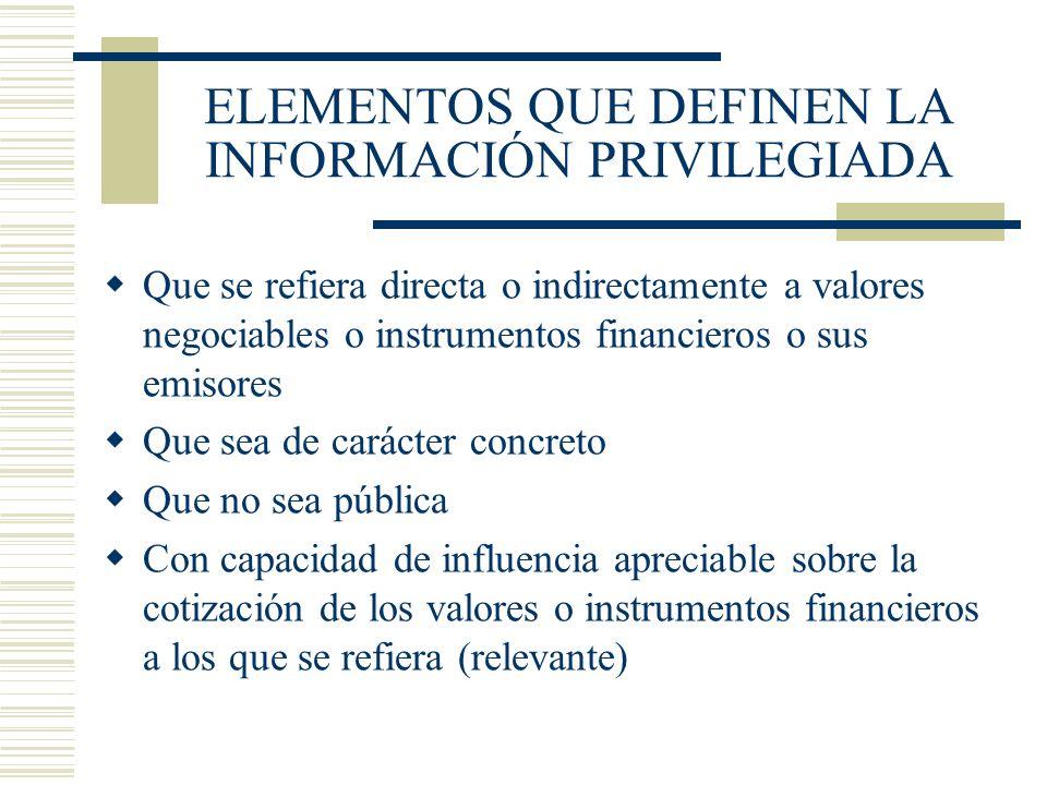 ELEMENTOS QUE DEFINEN LA INFORMACIÓN PRIVILEGIADA