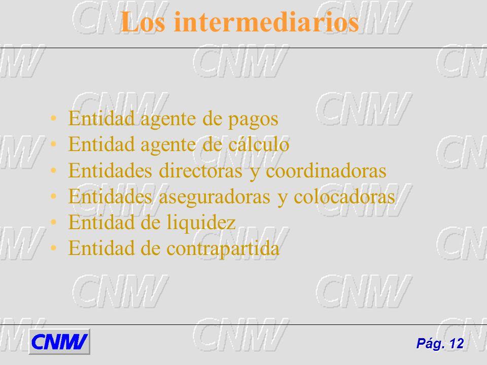 Los intermediarios Entidad agente de pagos Entidad agente de cálculo