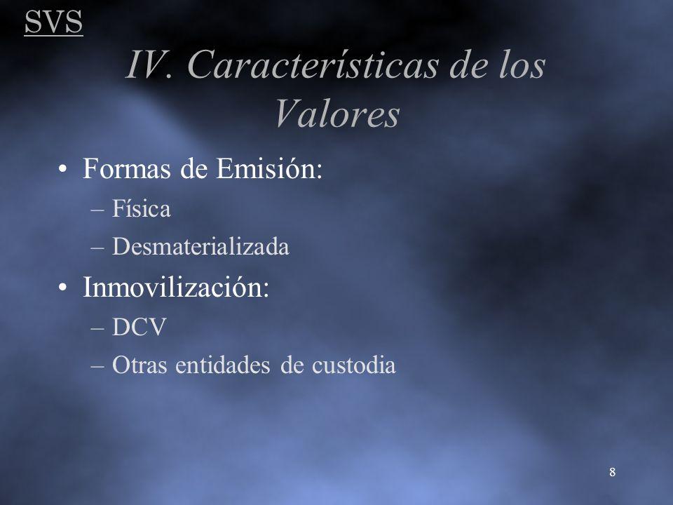 IV. Características de los Valores