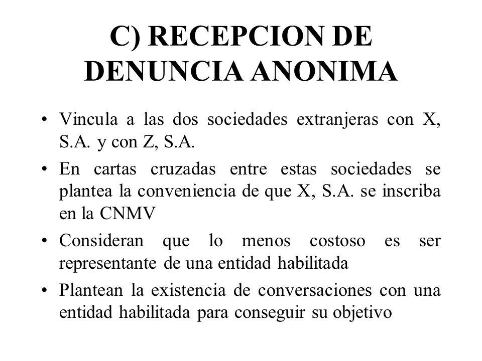 C) RECEPCION DE DENUNCIA ANONIMA