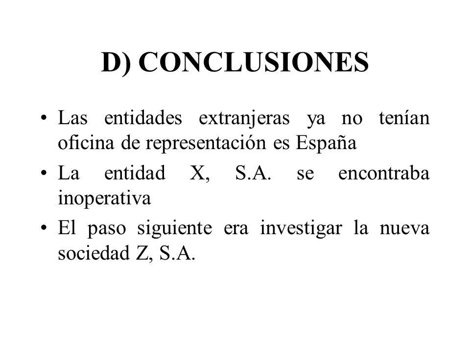 D) CONCLUSIONES Las entidades extranjeras ya no tenían oficina de representación es España. La entidad X, S.A. se encontraba inoperativa.