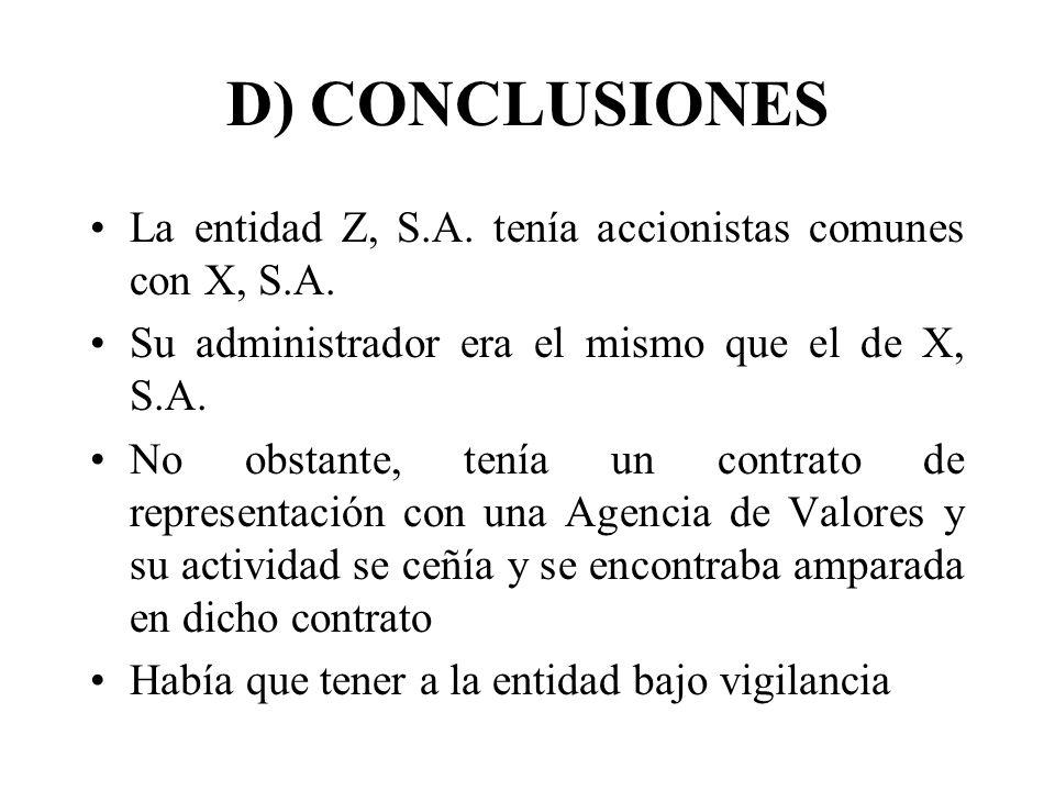 D) CONCLUSIONES La entidad Z, S.A. tenía accionistas comunes con X, S.A. Su administrador era el mismo que el de X, S.A.