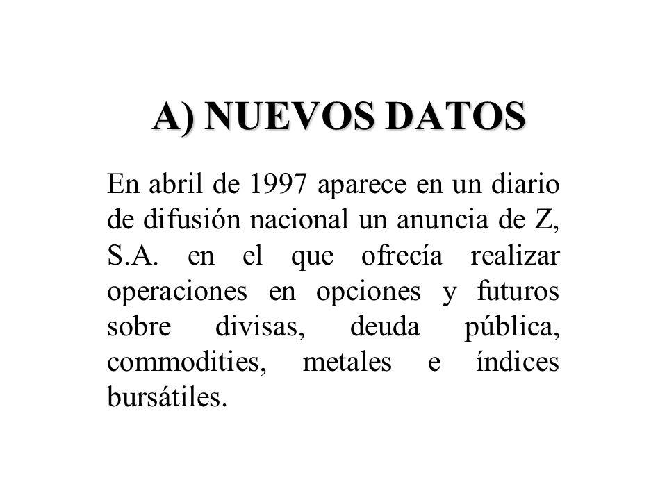 A) NUEVOS DATOS