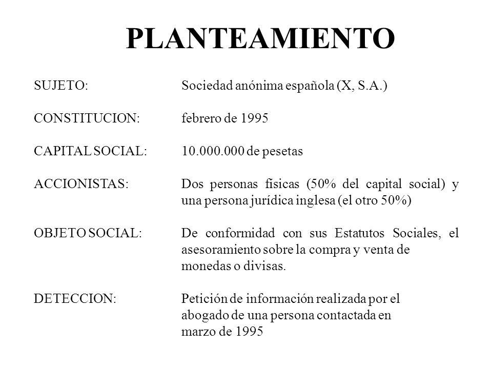 PLANTEAMIENTO SUJETO: Sociedad anónima española (X, S.A.)